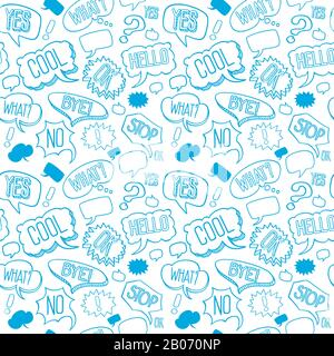 Vector doodle seamless pattern with speech bubbles. Background with words of exclamation in linear style illustration - Stock Photo
