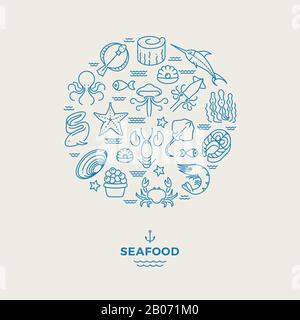 Marine animals, seafood thin line icons in circle design. Seafood restaurant modern logo. Lobster and crab, shrimp and salmon. Vector illustration - Stock Photo