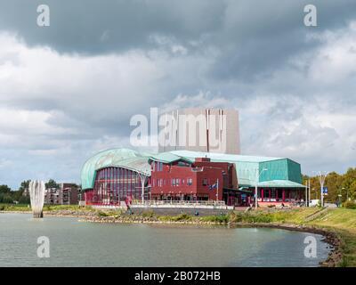 Het Park Theater along Markermeer lake in Hoorn, Noord-Holland, Netherlands - Stock Photo