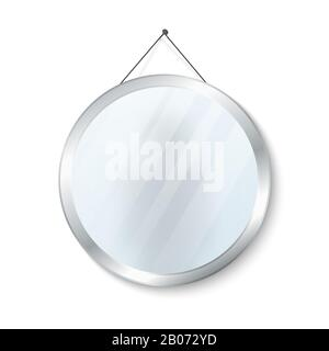 Round mirror with steel frame vector illustration. Glossy circle mirror isolated on white background - Stock Photo