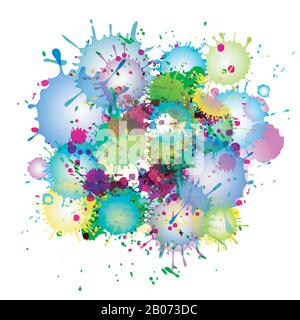 Multicolored watercolor paint splatters vector abstract background. Colorful abstract stain illustration - Stock Photo