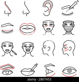 Cosmetic plastic face surgery vector thin line icons set. Procedure medical with eye, lip and nose illustration - Stock Photo