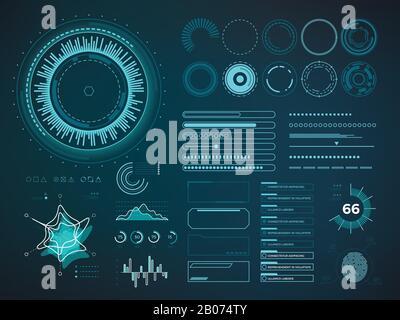 Futuristic user interface HUD. Infographic vector elements. Digital dashboard panel illustration - Stock Photo