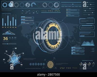 Future concept virtual touch user interface HUD. Vector interactive screen with control panel. Hightech futuristic computer with indicator illustration - Stock Photo