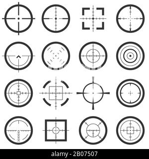 Crosshairs vector icons set. Target and aiming to bullseye illustration - Stock Photo