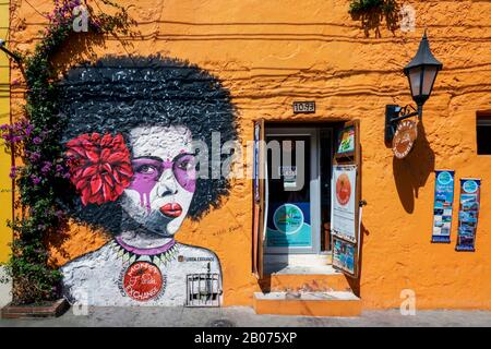 Cartagena, Colombia - January 23, 2020: Street art in Getsemani from Cartagena, Colombia, South America