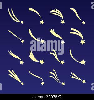 Shooting star, comet silhouettes vector icons isolated on dark blue background. Meteor falling illustration - Stock Photo