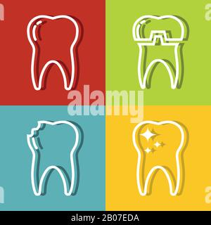 Tooth white line icons on color background. Dental medicine and health care. Vector illustration