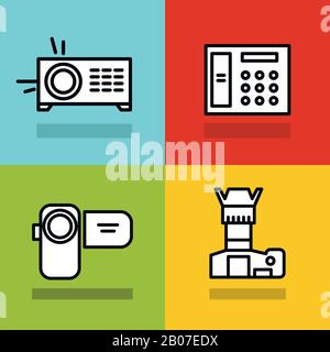 Household appliances icons with black stroke on color background. Photo and video camera. Vector illustration - Stock Photo