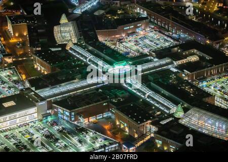 Aerial photo, Centro Einkaufszentrum, Oberhausen-Neue Mitte, Spielhalle, Spielstation,CentrO-Promenade, night photo, Bermensfeld, Oberhausen, Ruhr are - Stock Photo