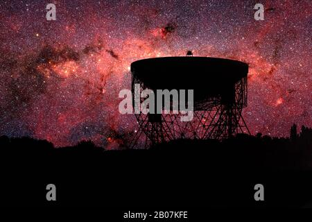 Radio telescope dish silhouette at night with the Milky Way stars in the background.  Astrophysics exploration concept - Stock Photo