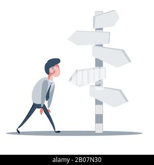 Businessman is looking at direction signs. Choices and decision concept. - Stock Photo