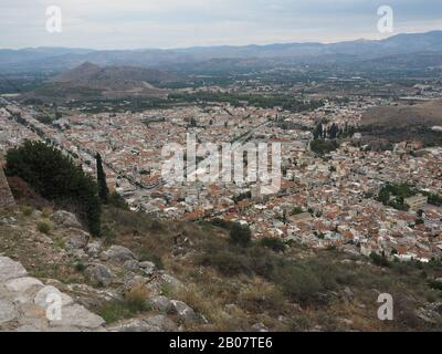 View looking down on Nafplion, Peloponnese, Greece - Stock Photo