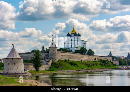 View of Pskov Krom from the Bank of the Velikaya river, rainy summer day
