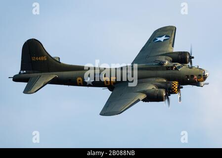 The beautiful Boeing B-17 Flying Fortress 'Sally B' heavy bomber developed in the 1930s for the United States Army Air Corps (USAAC). - Stock Photo