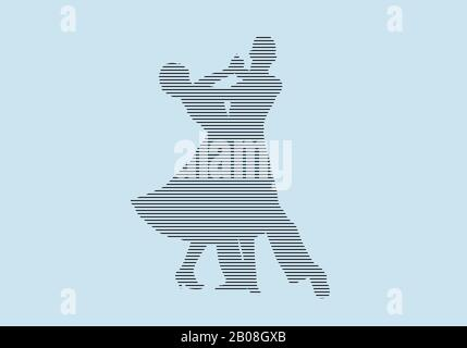 ballroom dancing partner dancers silhouette in black lines on blue background - Stock Photo