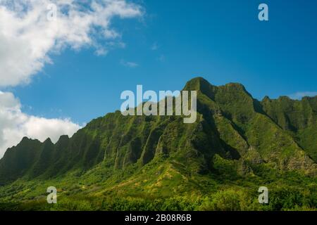 View of Kualoa Mountains on the Island of Oahu Hawaii - Stock Photo