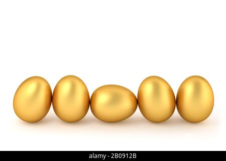 3D rendering - Happy easter: Five golden easter eggs in a row isolated on white. Copy space for easter message. - Stock Photo