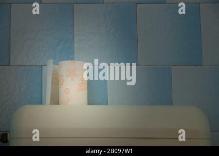 Half toilet paper in bathroom scene - Stock Photo