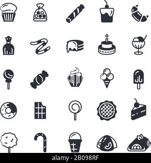 Dessert, pie, cupcake, cookie, biscuit, muffin vector icons. Sweet cupcake and biscuit, set of cake in monochrome style illustration - Stock Photo