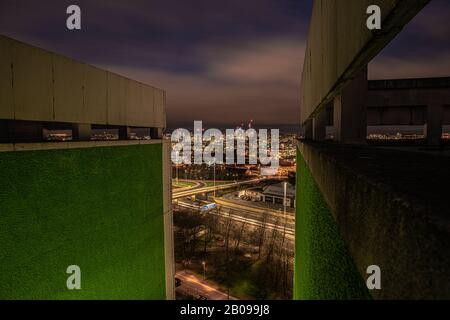 Leeds City Centre cityscape from a high rise building - Stock Photo