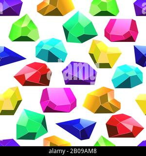 Multicolor vector crystals seamless pattern. Wallpaper background with crystal illustration