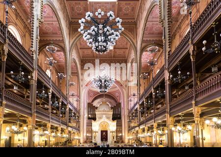Budapest, Hungary - 25 April 2019: View of the interior of the synagogue in Budapest, Hungary - Stock Photo
