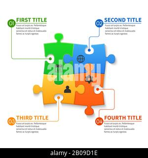 Jigsaw puzzle pieces vector infographic business concept. Business infographic jigsaw illustration - Stock Photo