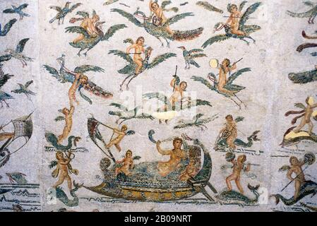 TUNISIA, TUNIS, BARDO MUSEUM, ROMAN MOSAICS - Stock Photo