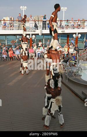 Kangaroo Zulu Dancers perform for passengers on Azamara Quest cruise ship, Durban, KwaZulu-Natal Province, South Africa, Africa - Stock Photo