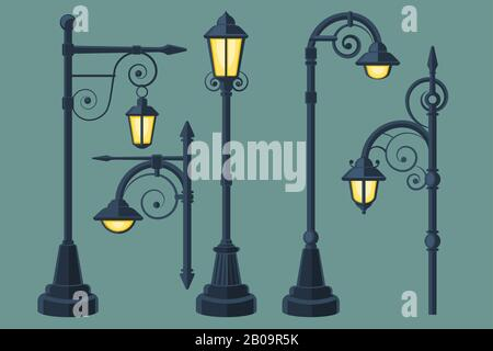 Cartoon, comic book vintage and modern street lights vector set. Street lamp with curls, illustration of light lamp for city - Stock Photo