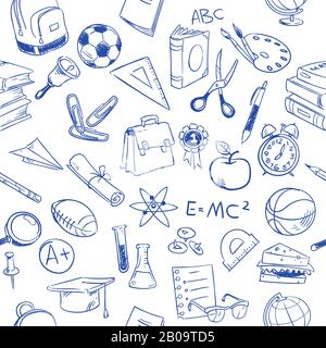 Back to school, education vector doodles, pencil drawing seamless pattern. Education pattern with book sketch, illustration of drawing seamless education background - Stock Photo