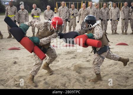 U.S. Marine Corps recruits with Delta Company, 1st Recruit Training Battalion, participate in Pugil Sticks training at Marine Corps Recruit Depot February 18, 2020 in San Diego, California. - Stock Photo