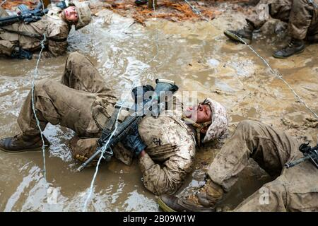 U.S. Marine Corps recruits with Delta Company, 1st Recruit Training Battalion maneuver through mud and barbed wire during the Combat Endurance Course December 21, 2019 at Marine Corps Recruit Depot Parris Island, South Carolina. - Stock Photo