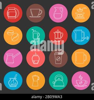 Colorful coffee thin line vector icons set. Collection of color simple icons pictogram tea and coffee illustration - Stock Photo