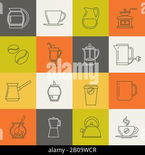 Multicolor coffee thin line vector icons set. Collection of line design tea and coffee signs illustration - Stock Photo