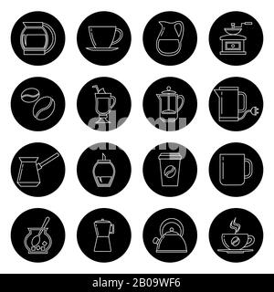 Coffee thin line vector icons set in black and white. Monochrome linear collection icons illustration - Stock Photo