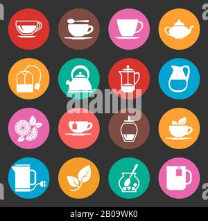 Colorful tea thin line vector icons set. Illustration of tea and coffee cup - Stock Photo