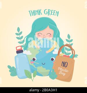 cute girl world bottle and shopping bag foliage nature environment ecology vector illustration - Stock Photo