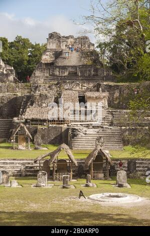 Guatemala, Tikal National Park, Acropolis del Norte, North Acropolis,  600-800 BC; UNESCO World Heritage Site - Stock Photo