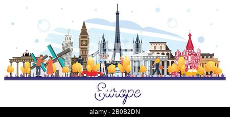 Famous Landmarks in Europe Isolated on White. Tourists Walking Near of Buildings. Vector Illustration. Business Travel and Tourism Concept. - Stock Photo