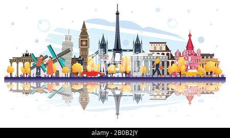 Famous Landmarks in Europe with Reflections Isolated on White. Tourists Walking Near of Buildings. Vector Illustration. Business Travel and Tourism. - Stock Photo