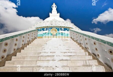Shanti stupa in  Leh, Himalayas. Ladakh, India - Stock Photo