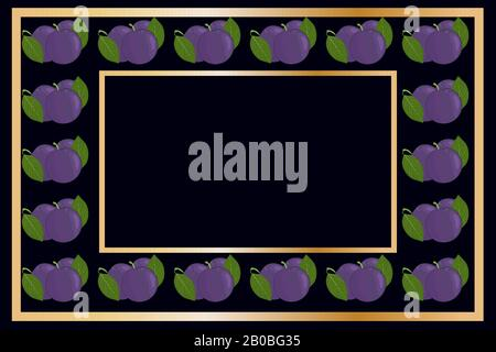 Gold frame plum tea, wine or alcohol label package. Fruit tag for food products,juice, jam, ice cream, smoothies,yogurt,soap, cosmetics.Stock vector - Stock Photo