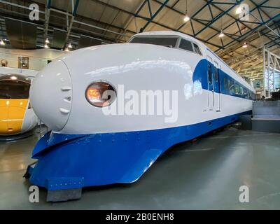An original Shinkansen Bullet Train (circa 1968) in the National Railway Museum in York, England. Over the Shinkansen's 50+ year history, carrying ove - Stock Photo