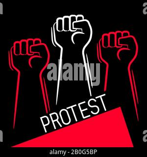 Fist Male Hand, Proletarian Protest Symbol. Vector Suitable For Greeting Card, Poster Or T-shirt Printing. - Stock Photo