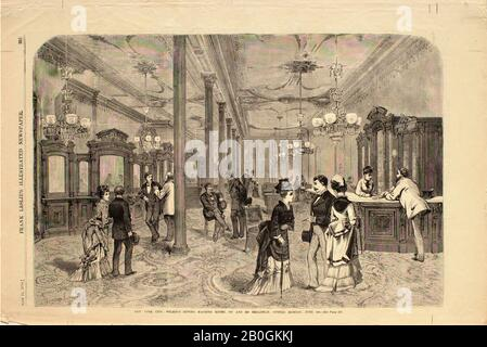 Artist unknown, New York City—Wilson's Sewing Machine Rooms. 827 and 829 Broadway, Opened Monday, June 1st, From Frank Leslie's Illustrated Newspaper, 1874, Wood engraving on paper, image: 9 5/16 x 14 in. (23.6 x 35.5 cm - Stock Photo
