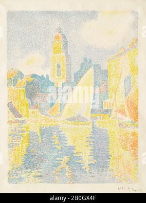 Paul Signac, French, 1863–1935, Le Port de Saint-Tropez II, c. 1897–98, Lithograph on wove paper, image: 16 15/16 x 13 in. (43 x 33 cm - Stock Photo