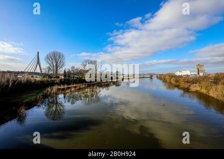 05.02.2020, Wesel, North Rhine-Westphalia, Germany - Flooding in the renaturalised floodplain area where the river Lippemuendung flows into the Rhine, - Stock Photo
