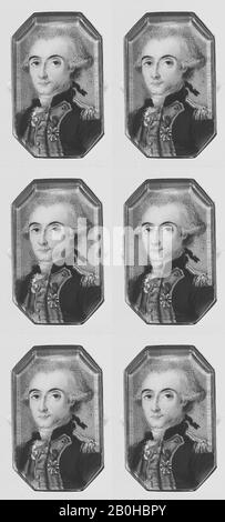 French Painter, Marquis de Lafayette (1757–1834), French Painter (ca. 1790), Ivory, Octagonal, 1 1/4 x 3/4 in. (31 x 19 mm), Miniatures - Stock Photo
